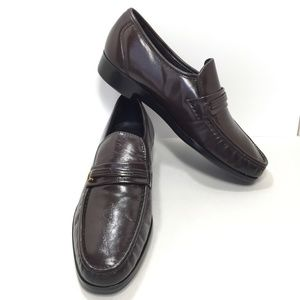 Florsheim Brown Leather Moc Toe Bit Loafers New